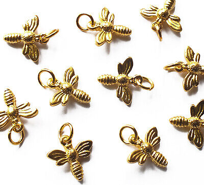£2.25 • Buy 10 X Quality 3d Gold Tone Metal Honey/Bumble Bee Charms Pendants & Jump Rings