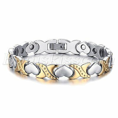 $13.99 • Buy Silver Gold Tone Stainless Steel Charm Heart Magnetic Womens Bracelet Chain Link