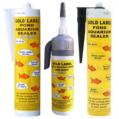 Gold Label Underwater Pond Sealant - 290ml & 75ml One Shot - Black Or Clear • 12.90£