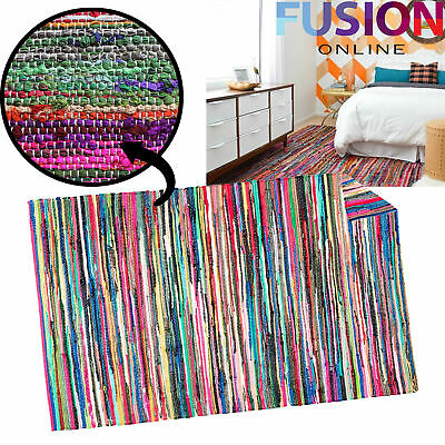 100% Cotton Handmade Multi Colour Chindi Rug Area Rag Rugs Flat Weave Mat Mats • 22.99£