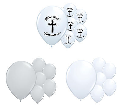30 X 1st Holy Communion White & Silver Helium Quality Balloons Party Decorations • 5.99£