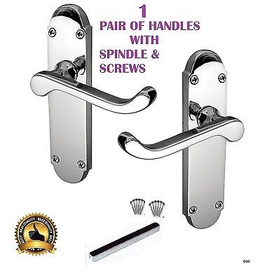 Victorian Scroll On Shaped Back Plate Door Handles Authentic Epsom Lever Chrome • 7.75£