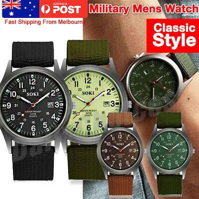 AU16.54 • Buy Military Sport Mens Quartz Army Date Analog Luminous Canvas Strap Wrist Watch