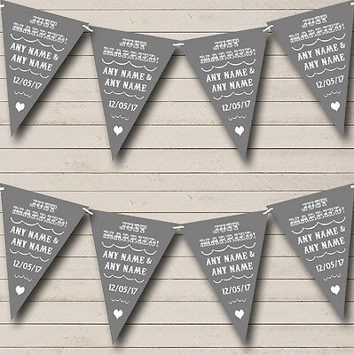 Vintage Just Married Grey Personalised Wedding Venue Or Reception Bunting Banner • 5.99£