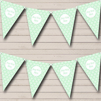 Vintage Lace Look Pretty Mint Green Personalised Wedding Bunting Banner Garland • 7.29£