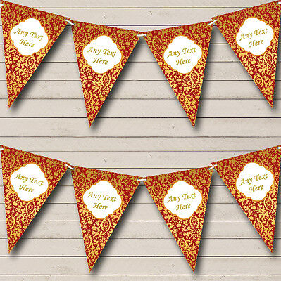 Red And Gold Vintage Regal Damask Wedding Anniversary Party Bunting Banner • 4.99£