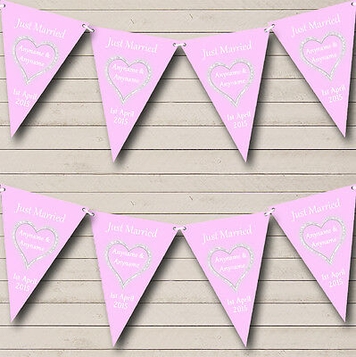 Pink And White Just Married Wedding Venue Or Reception Bunting Banner • 5.99£