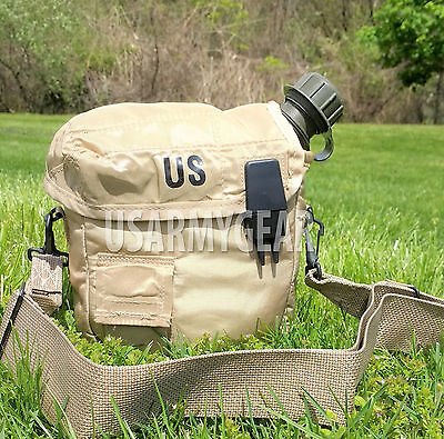 $ CDN20.69 • Buy 2 QT Collapsible Water Canteen + Desert Tan Cover Pouch W Sling US Army Military