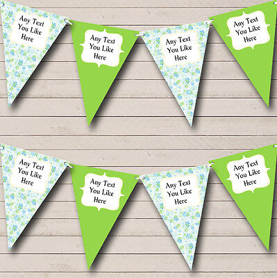 Blue And Green Personalised Wedding Venue Or Reception Bunting Banner Garland • 5.99£
