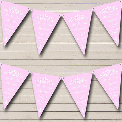 Vintage Regal Baby Pink Personalised Wedding Anniversary Party Bunting Banner • 4.99£