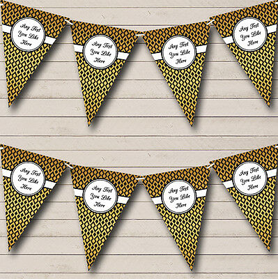Diamond Pattern Black And Gold Wedding Anniversary Party Bunting Banner • 4.99£