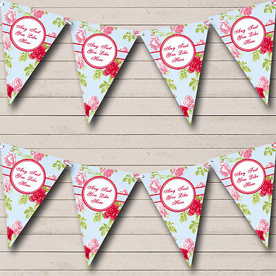 Bright Fuchsia Pink And Pale Blue Shabby Chic Rose Wedding Bunting Banner • 5.99£