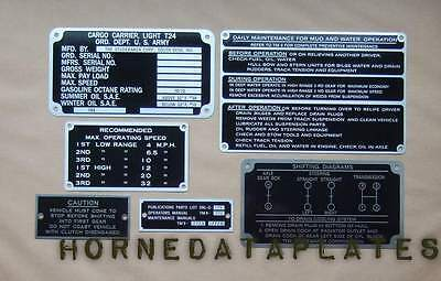 $149.99 • Buy T24 Weasel Data Plates Set Early M29 G-179