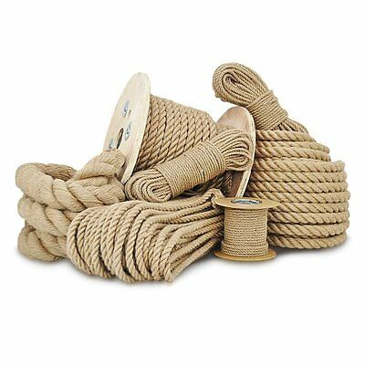 Natural Jute Hessian Rope Cord Braided Twisted Boating Sash Garden Decking 6-50 • 0.99£