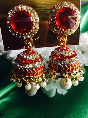 AU15.90 • Buy Bollywood Gimmiki Indian Pierced Earrings Gold Jhumka Pearls Red White E120