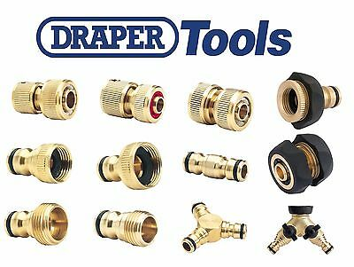 DRAPER TOOLS Brass Hose Pipe Tap Connectors & Fittings - Hozelock Compatible • 7.99£