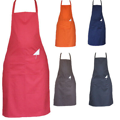 £3.99 • Buy Chefs Aprons Plain Front Pockets Kitchen Butcher Cooking BBQ Stuff Full Aprons