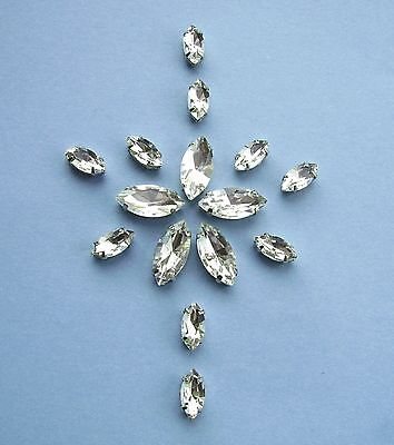 Sew On 'Crystal Clear' Navette/Marquise Glass Rhinestones Silver Setting 2 Sizes • 2.75£