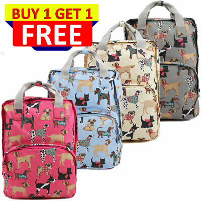 UK Ladies Oilcloth Backpack Rucksack School College Shoulder Laptop Bag Womens • 19.95£