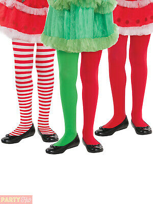 Girls Christmas Tights Childs Elf Santa Claus Fancy Dress Accessory Hosiery Kids • 4.25£