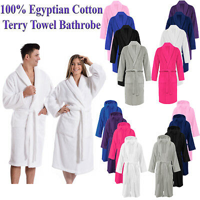 100% Luxury Egyptian Cotton Terry Towel Unisex Towelling Bath Robe Dressing Gown • 9.50£