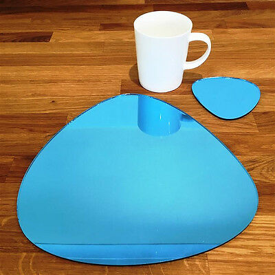 Pebble Shaped Placemat And Coaster Set - Blue Mirror • 101.59£