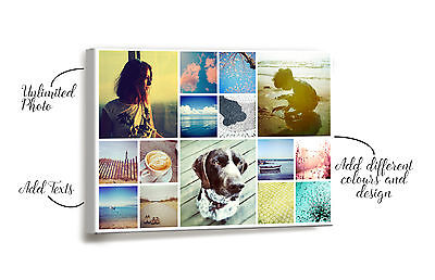 Personalised Canvas Collage Printing Your Photo Collage Printed Box Framed Decor • 5.80£
