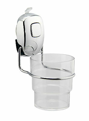 Acrylic Tumbler Toothbrush Holder - Smart Suction Cup Wall Mounted Chrome Hanger • 12.50£