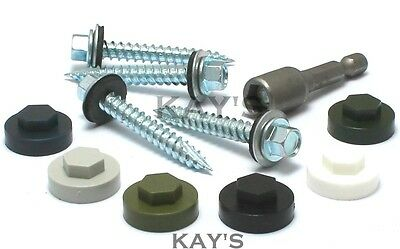 £9.65 • Buy Tek Roofing Screws With Sealing Washer Fix To Timber + Colour Caps & Free Bit