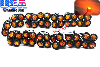 50x 3/4  Marker Lights Triple Diode LED Truck Trailer Clearance Indicator Yellow • 72$