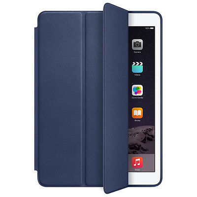 $7.43 • Buy For Apple IPad Air 2 Genuine Leather Smart Case Cover Slim Wake Protector Blue