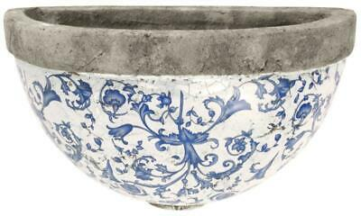 Antiqued Blue & White Ceramic Plant Flower Herb Garden Wall Planter Pot  • 17.99£
