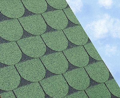 £36 • Buy SCALLOPED Felt Roofing Shingles | Shed Roof Shingles | GREEN FIVE TAB 3M2/PACK
