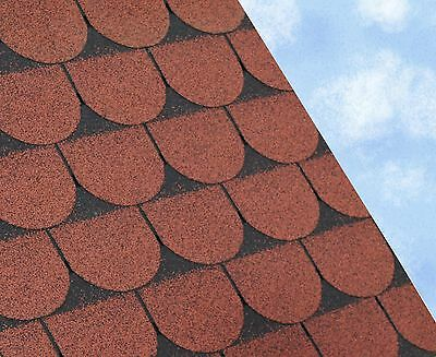 SCALLOPED Felt Roofing Shingles | Shed Roof Shingles | RED FIVE TAB 3M2/PACK • 34£