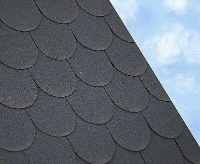 SCALLOPED Felt Roofing Shingles | Shed Roof Shingles | BLACK FIVE TAB 3M2/PACK • 34£