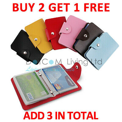 £1.79 • Buy 24 Cards Pocket PU Leather Credit ID Business Card Holder Wallet Case Purse
