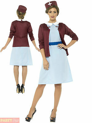 Ladies Vintage Nurse Costume Midwife Uniform Fancy Dress Womens Ww2 30s 1940s • 22.95£