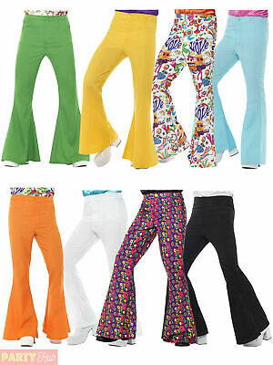 £12.89 • Buy Mens 60s Flares Flared Trousers Adult 70s Disco Hippy Hippie Fancy Dress Costume