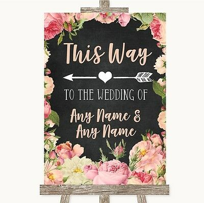 £11.95 • Buy Chalkboard Style Pink Roses This Way Arrow Left Personalised Wedding Sign
