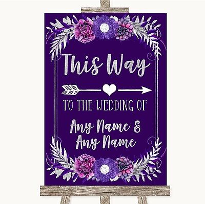 Purple & Silver This Way Arrow Right Personalised Wedding Sign • 9.95£