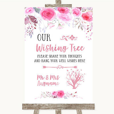 £42.95 • Buy Pink Watercolour Floral Wishing Tree Personalised Wedding Sign
