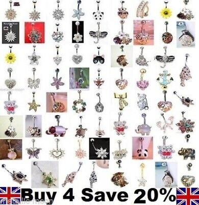 Belly Bars Button Piercing Jewellery Gold Navel Rings Crystal Reverse Belly Bar  • 2.75£
