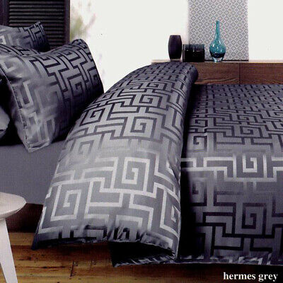 AU68.89 • Buy GREEK KEY Charcoal Grey Quilt Cover Set QUEEN SUPER KING Jacquard Duvet Doona