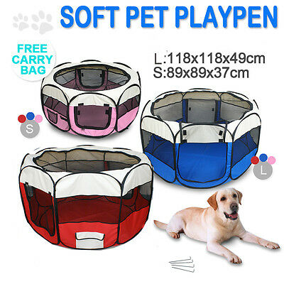 £16.99 • Buy Pet Soft Playpen Dog Cat Rabbit Guinea Pig Puppy Play Crate Cage Tent Portable