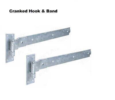 £13.51 • Buy 16  Gate Cranked Hook & Band Hinges Heavy Duty Stable Garage Shed Barn Door D30