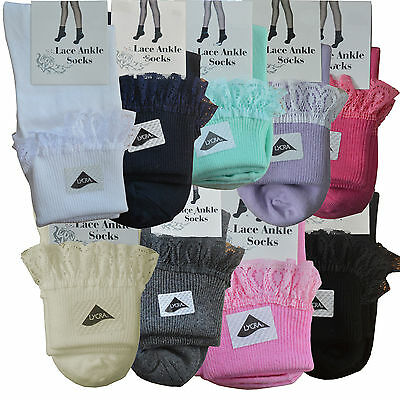 Girls Kids Teens Frilly Lace Edge Ankle Socks Ribbed School Stretch Short Cotton • 3£