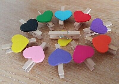 Mini Wooden Pegs With Mini Colour Hearts Craft Wedding Hanging Photo Clips Wood • 3.99£