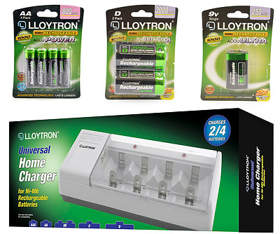 £9.99 • Buy RECHARGEABLE BATTERIES   Packs Of AA AAA D 9V PP3   BATTERY CHARGER UK SOCKET