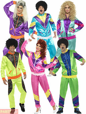 Mens Ladies Shell Suit Fancy Dress Costume 19 80s Tracksuit Womens Couples • 22.95£
