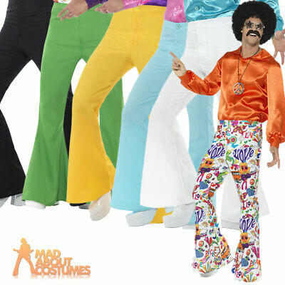 £10.29 • Buy Mens 1960s Flared Trousers Groovy Disco Flares Fancy Dress Various Colour